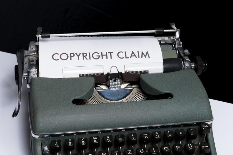 Typewriter with copyright claim text