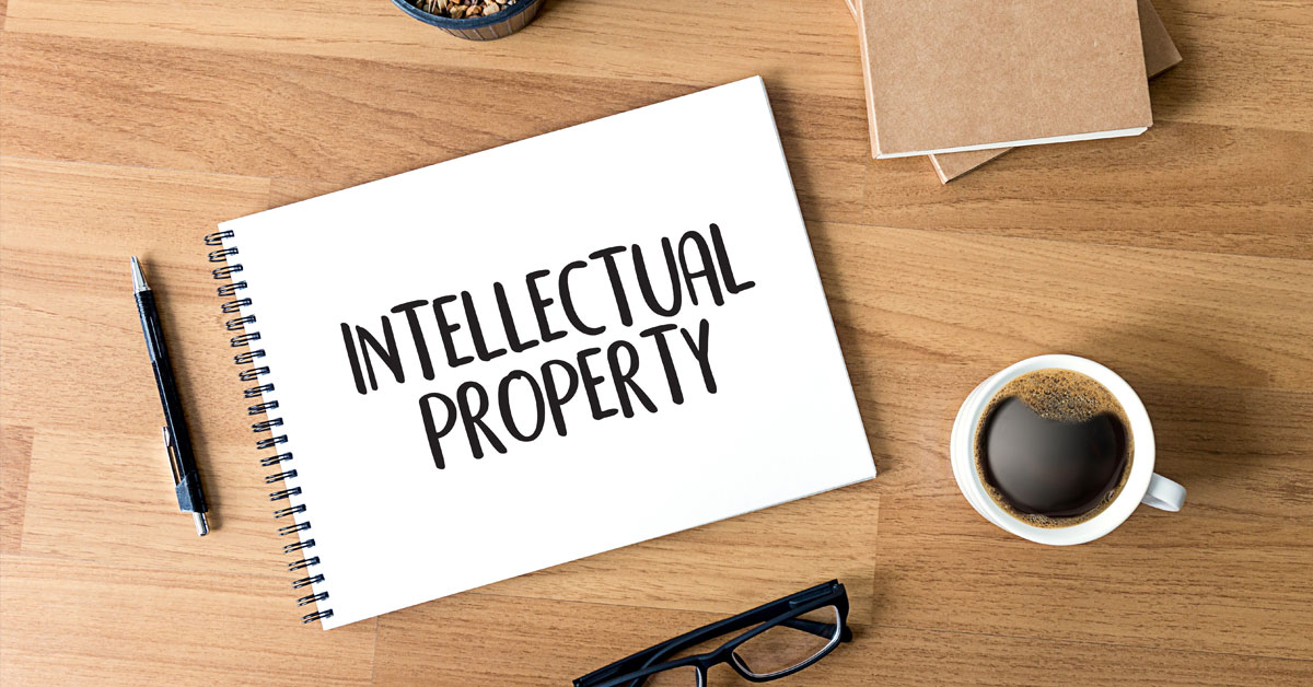words intellectual property printed on notepad