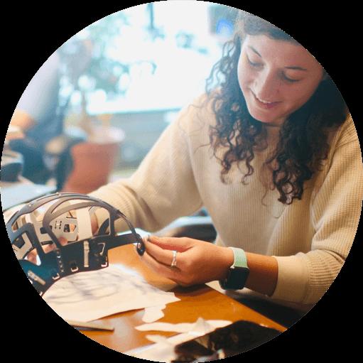 women working on prototype